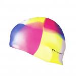 Spokey Abstract plavecká čepice silikonová žluto-růžovo-modrá kostka