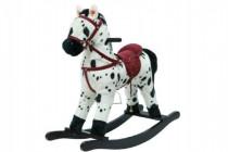 Kůň houpací bíločerný plyš na baterie 56cm se zvukem a pohybem nosnost 50kg