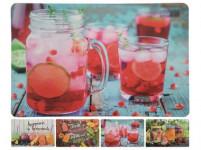 prostírání plastové, DRINK 43,5x28,5cm 4 dekory - mix variant či barev - VÝPRODEJ