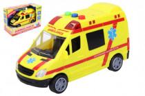 Auto ambulance záchranáři plast 14,5cm na baterie se světlem a zvukem