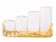 Svíčky adventní STUPŇOVITÉ rustik metal d5x6/8/10/12cm 4ks