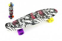 Skateboard - pennyboard 60cm nosnost 90kg černo-červený,černé osy kov, kola - mix barev