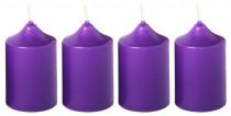 Svíčka adventní 40x60 mm - fialová - 4 ks