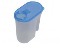 dóza UNI na sypké potraviny 2l ovál plastová, otevírací víčko - mix barev