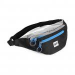 Spokey BOREAS menší sportovní ledvinka černo-šedá, modrý zip, 3 l
