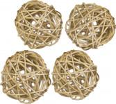 Dekorace - Lata Ball 6 cm - přírodní 4 ks