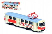 Tramvaj Tatra T3 česká kovová 16cm I LOVE PRAGUE retro na zpětný chod CZ design