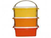 jídlonosič 3x1,2l hranatý 17x15x18,5cm plastový - mix barev