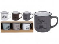 hrnek 330ml COFFEE keramický (3ks) - mix barev - VÝPRODEJ