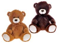 Medvěd plyšový 40 cm sedící s mašlí - mix barev