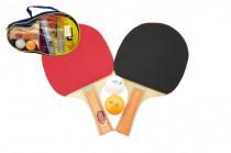 Sada stolní tenis/ping pong dřevěná 25cm s míčky v pouzdře