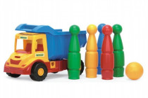 Auto multitruck s kuželkami plast 37cm v síťce 12m+ Wader - mix barev