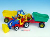 Traktor nakladač s valníkem plast 64cm - mix barev