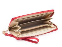 Dámská peněženka na zip s řemínkem na zápěstí a zlatou mašličkou, eko kůže, červená
