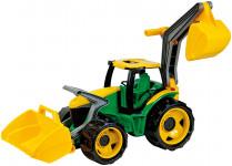 Traktor se lžící a bagrem zeleno žlutý