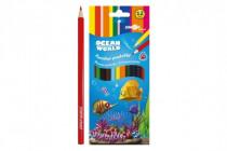Pastelky barevné dřevo Ocean World trojhranné