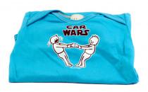 Dětské body Mayaka s krátkým rukávem Car Wars - tyrkysové Vhodné pro věk 3-6 měsíců - VÝPRODEJ