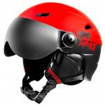 Spokey JASPER lyžařská přilba s čelním sklem, černo-červená, vel. L/XL