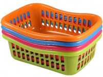 košík TIN 28x20x9,5cm plastový (střední) - mix barev