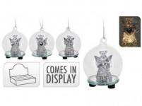 dekorace LED KOULE s andělíčkem pr.6x7,5cm sklo - mix variant či barev