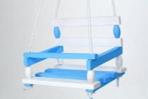 Houpačka dřevo bílo modrá 38x30cm nosnost 80kg