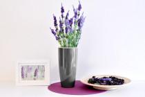 Vypěstuj si levanduli, samozavlažovací květináč tmavě stříbrný 12 / 23 cm, Domestico