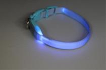 Obojek nylon svítící s plast. dutinkou modrý B&F 1,50 x 38-48 cm