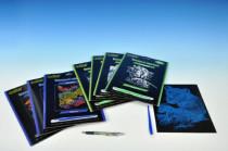 Škrabací obrázek stříbrný/duhový 19x24cm - mix variant či barev