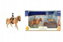 Sada kůň + žokej s doplňky farma plast