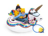 Set Nafukovací kluzák Jednorožec na sníh, CUCULO s nožní pumpou