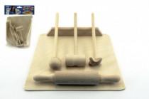 Kuchyňské nádobí prkénko, váleček, palička dřevo 20cm