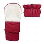Set - rostoucí fusak 3v1 Arctic wool a rukávník, ovčí vlna, tmavě červený, Cuculo
