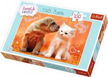 puzzle 100 - Štěně a Kotě