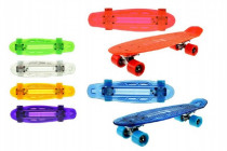 Skateboard pennyboard se světlem 55cm nosnost 50kg - mix barev