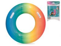 Kruh nafukovací 91 cm duhový s úchytem - mix barev