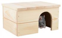 Domek dřevo králík rovná střecha 21 x 18 x 13 cm - VÝPRODEJ