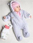 Zimní kojenecký overal Nicol Kids Winter šedý - 62 (3-6m) - VÝPRODEJ