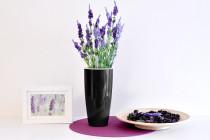 Vypěstuj si levanduli, samozavlažovací květináč černý 12 / 23 cm, Domestico