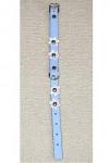 Obojek kožený Modrý+květy 30cmx12mm 1ks