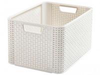 box úložný RATTAN 43,6x33x23cm (L), STYLE2, plastový, KRÉM - VÝPRODEJ