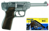 Policejní pistole stříbrná kovová 8 ran - VÝPRODEJ
