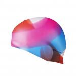 Spokey Abstract plavecká čepice silikonová barevná, převládá růžová s modrou