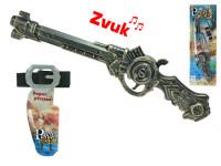 Pistole pirátská 48 cm klapací na baterie se zvukem a páskem