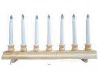 svícen vánoční 7 svíček LED, teplá BÍ, dřev. přír.42,5x21,5x5cm,2xtuž. AA baterie