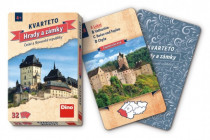 Kvarteto Hrady a zámky společenská hra karty 32ks v papírové krabičce