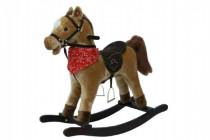 Kůň houpací hnědý plyš na baterie 71cm se zvukem a pohybem nosnost 50kg