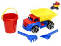 Nákladní auto 29 cm se sadou na písek - kbelík, lopatka a hrabičky