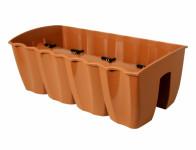 Truhlík CROWN na zábradlí plastový terakota 58x28cm - VÝPRODEJ