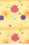 Balicí papír 100 x 70 cm 2 ks žlutá - barevné květiny - VÝPRODEJ