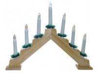 svícen vánoční el. 7 svíček, teplá BÍ, jehlan, dřev. přírodní, do zásuvky - VÝPRODEJ